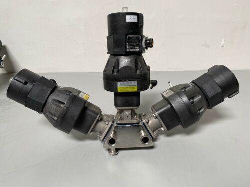 3 ITT Sherotec 3-Way Stainless Steel Diaphragm Valves w/ Position Monitor