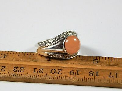 Peach Moonstone Ring - Rare Sterling Silver Peach Moonstone Goddess Ring Size 10.25 Signed EA 925 China