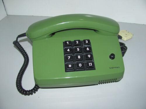 Vintage 1980s Siemens 7551 C7/L8 Green Push Button Desk Telephone Working