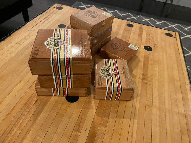 LOT OF 8 ASHTON EMPTY CIGAR BOXES WOODEN GUITAR ARTS CRAFTS