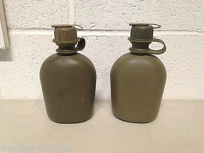 Lot of 2 US Military Army USMC OD 1 QUART PLASTIC CANTEEN 1QT CAMPING USGI NBC
