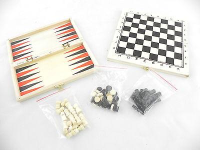 dama scacchiera backgammon in legno dadi pieghevole viaggio campeggio treno mare