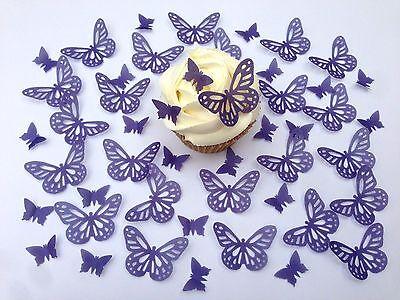 48 Edible Purple Butterflies Pre Cut Wafer Cupcake Toppers