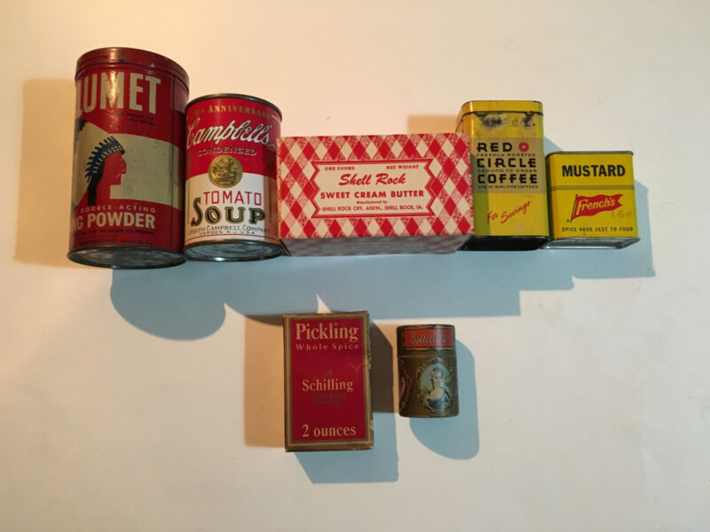 **VINTAGE LOT** antique: spice,tin,BUTTER BOX,MATCH BOX,- old good condition