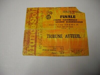 TICKET FOOTBALL FINALE 1978 ANDERLECHT AUSTRIA WIEN
