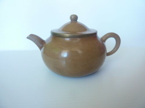 Used Small Asian Oriental Chinese Polished Clay Teapot Signed Metal Fitting