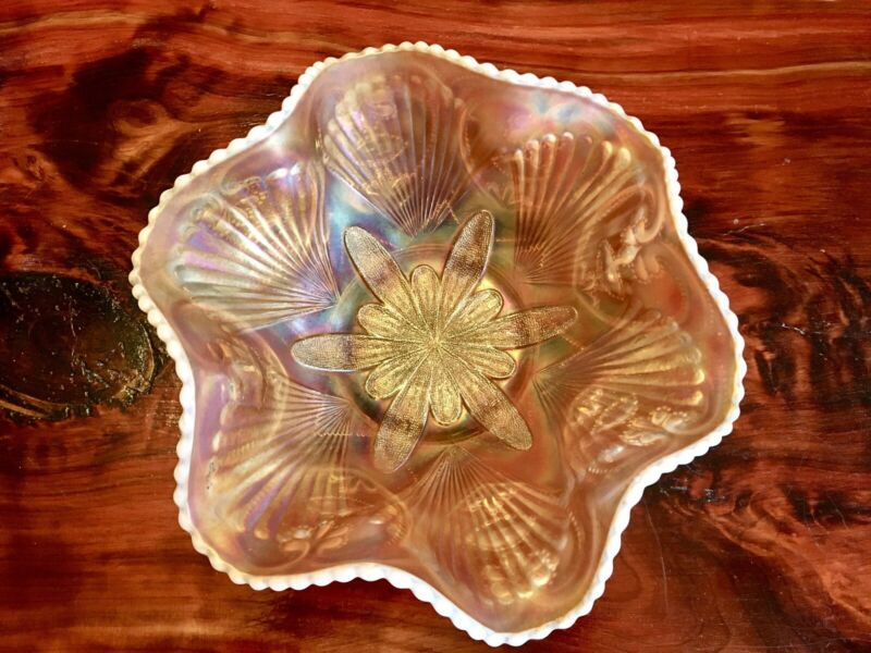 "Vtg Duncan Petel & Fan Peach Opalescent Carnival Glass Bowl 10""."
