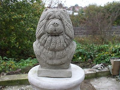 LARGE STONE CHOW CHOW DOGS  HEAD BUST SCULPTURE STATUE
