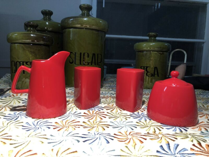 """BUFFALO CHINA  """"Route 66 Red"""" Salt and Pepper Creamer and Sugar Bowl"""