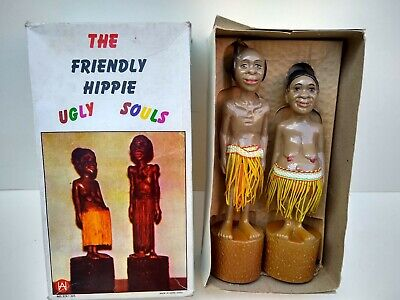 FRIENDLY HIPPIE UGLY SOULS - Kitsch Novelty figures from 1950/60s.