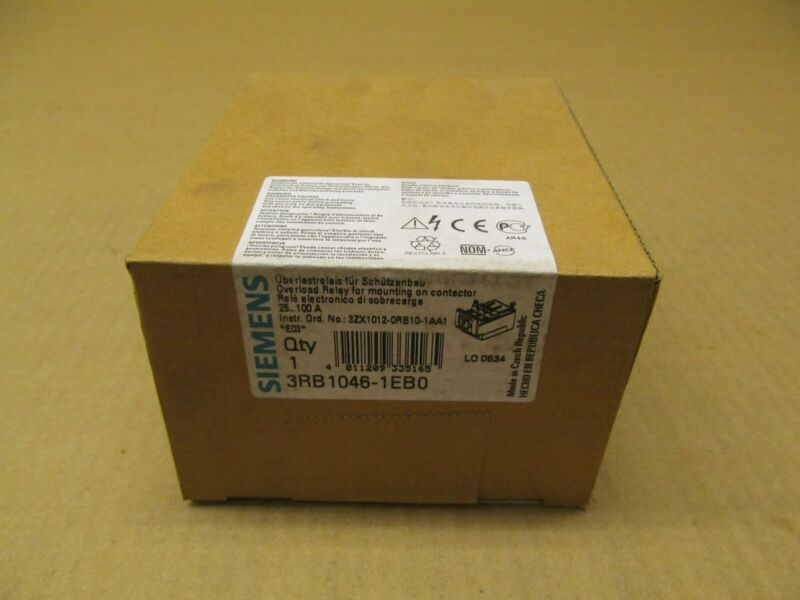1 NIB SIEMENS 3RB1046-1EB0 OVERLOAD RELAY 25-100 AMP FACTORY SEALED (146 AVAIL)