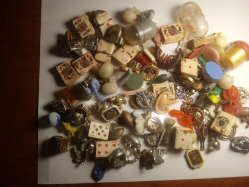Large Vintage Gumball Machine Miniature Toys Charms Group Lot Prizes