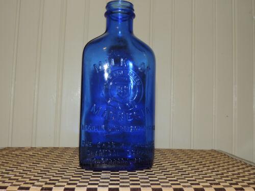 """Vtg. Milk of Magnesia Bottle Colbalt Blue 7"""" Tall """"Rec"""