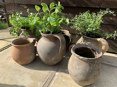 🌿 Genuine Vintage Antique European Terracotta Herb Trough Plant Pot Urn X1 🌿