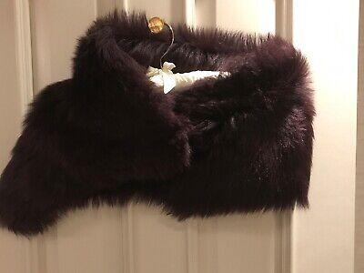 Karl Donoghue burgundy lamb fur scarf stole 100% Lambskin 100% Silk Lining