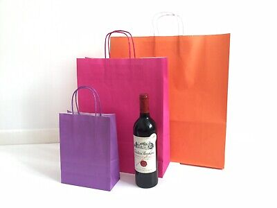 Orange Kraft Paper Carrier Bag with Twisted Handle 45x48x17cm (Pack 10)