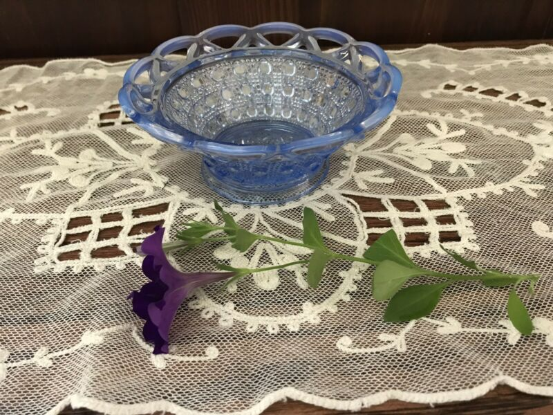 Imperial Glass Bowl Dish Katy Blue Open Lace Edge Sugar Cane 1930s EUC