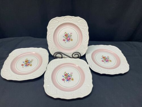 "Set of 4 ~ Crown Ducal ""FLORAL / Pale Pink"" England ~ Square Plates ~ 7 3/4"""
