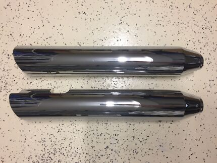Stock Harley Davidson Softail, Dyna Muffler Heat Shield's Chrome Scarborough Stirling Area Preview