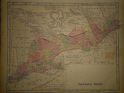 Antique 1856 Hand Colored ~ CANADA WEST MAP ~ Old Authentic Vintage Atlas Map