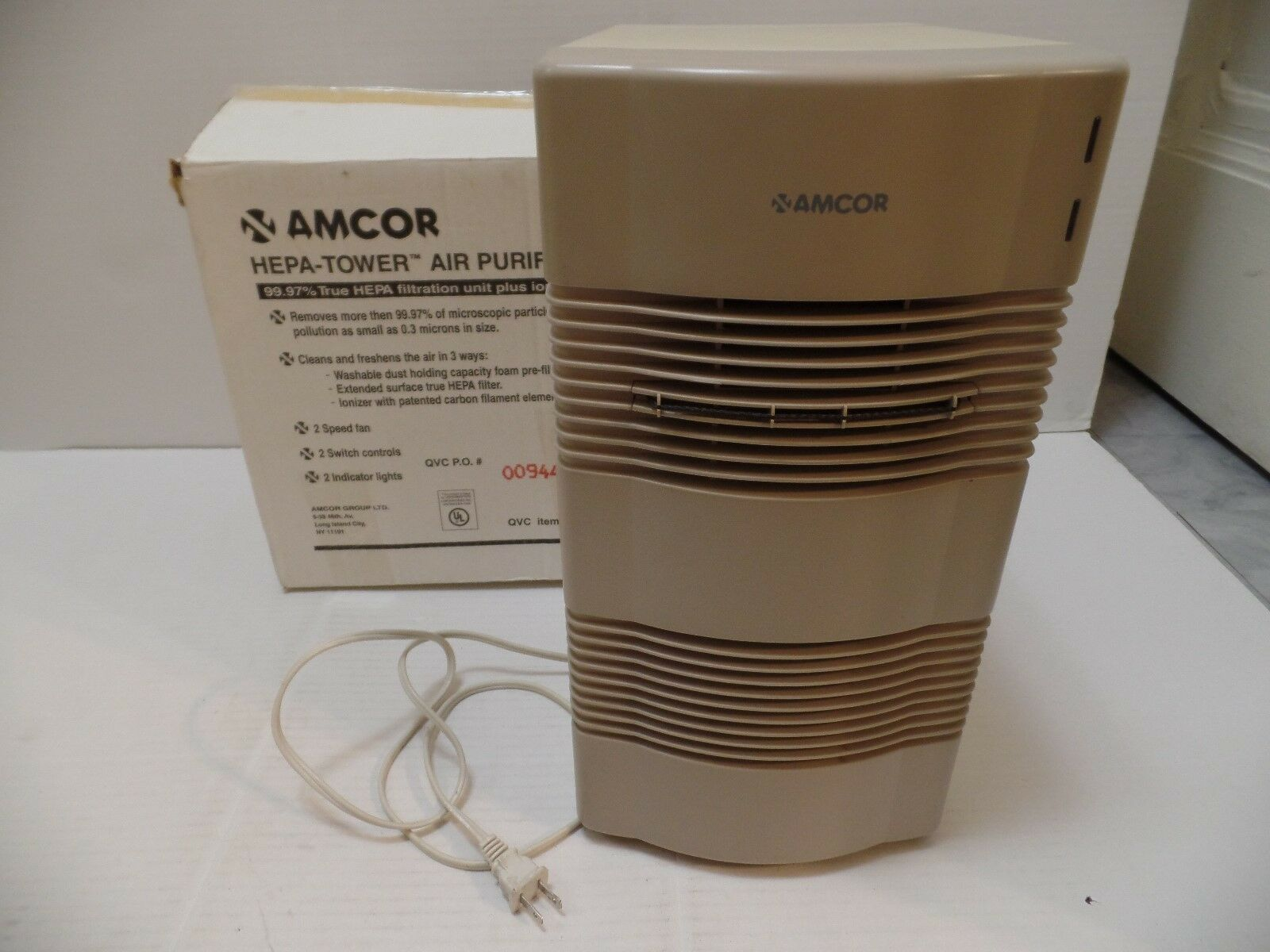 Amcor Air Purifier Ionizer Filter HT 2000 HEPA Tower 120v/45w Beige Electrolux