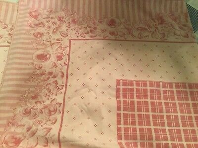 """GORGEOUS """"THE COMPANY STORE"""" VINTAGE STYLE TABLECLOTH, ROSE BORDER,CHEDK 104x52"""""""