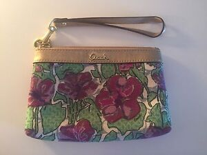 Authentic Coach wristlet gold green pink