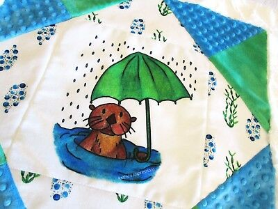 SEA OTTER Baby Quilt Blanket MINKY Shower Water Bubbles Rain Stroller Receiving