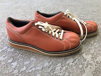 MENS LEATHER BOWLING SHOES LACE UP HYDE BROWN Size US 10 EU 42 UK 8 Rubber -