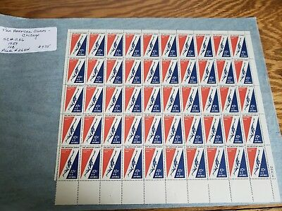 Vintage 1959 UNITED STATES 10c PAN AM GAMES  SCOTT#C56 FULL SHEET OF 50  MINT NH
