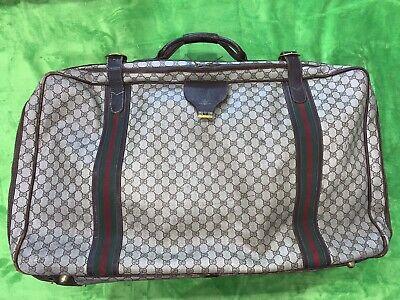 Gucci Large Monogram Leather Vintage 80s Luggage Travel Suitcase