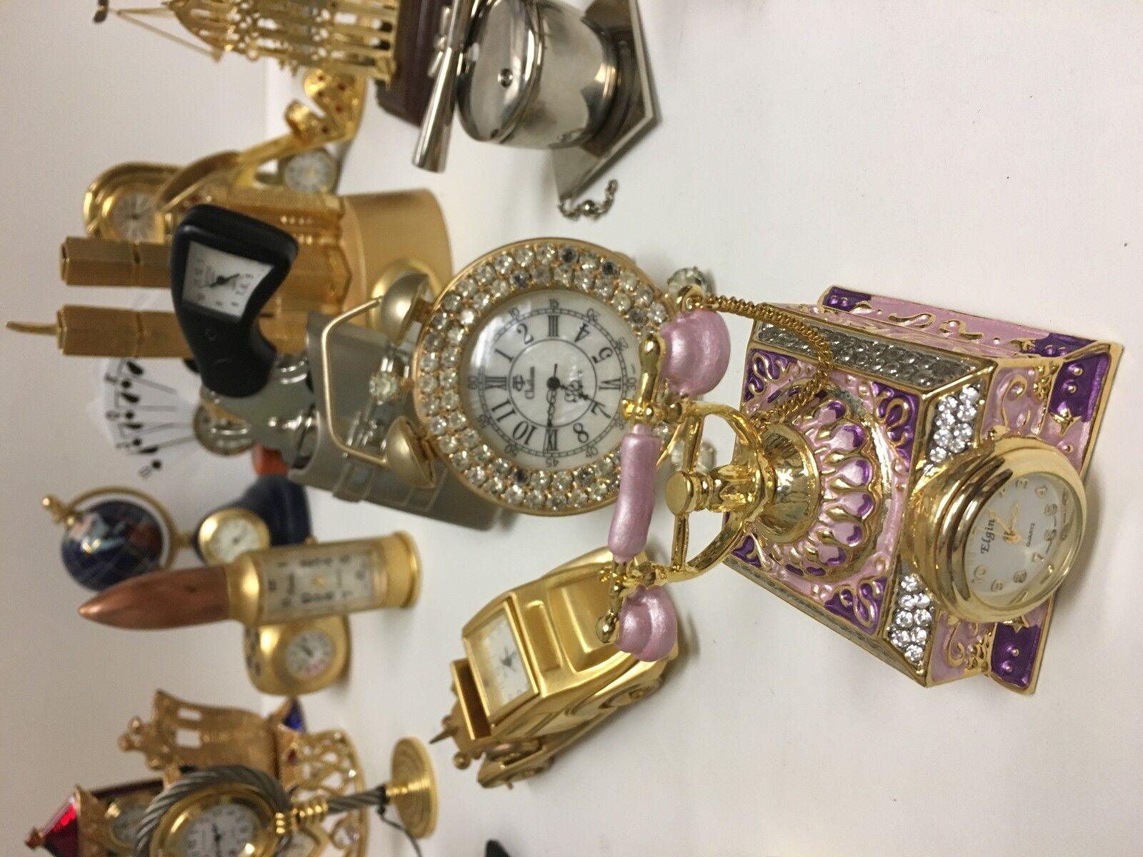 Vtg Collectible' mini clocks & more