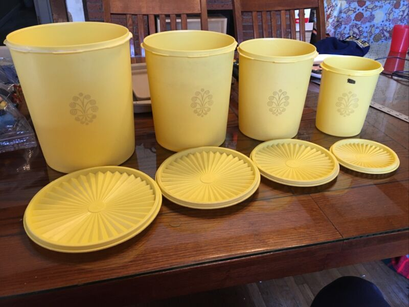 Vintage Tupperware Servalier Canisters Set of 4 1339 807 811 805 Yellow Gold