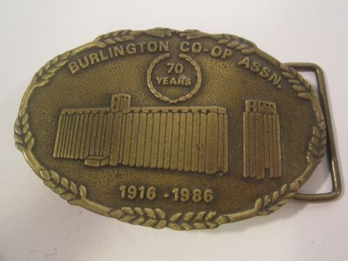 Belt Buckle #152 of 300 BURLINGTON CO-OP ASSN 70 Years 1916-1986 Oklahoma [Z36m]