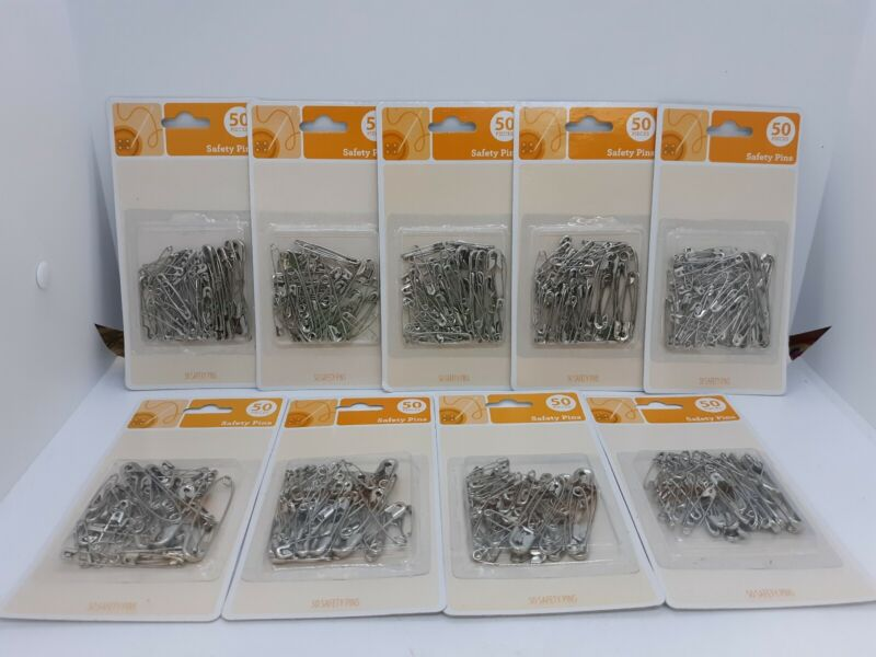 9 Packs Silver Safety Pins Various Sizes ~ 450 Safety Pins Total