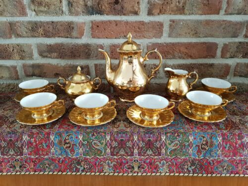 Antique Bavaria GKC Coffee Set gold plated and hand made (6 persons)