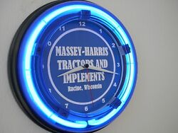 Massey Harris Farm Tractor Barn Garage Blue Neon Advertising Wall Clock Sign