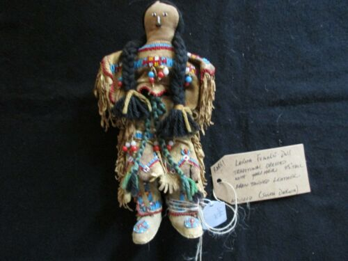 NATIVE AMERICAN BEADED LEATHER DOLL,  AUTHENTIC SOUTH DAKOTA DOLL  SD-0821*05760