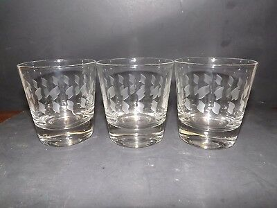 3 ETCHED GLASS LOW BALL WHISKEY ROCKS