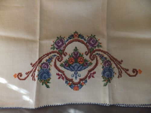 Vintage Unused Pure Ecru Linen Hand Towel Cross Stitch embroidery