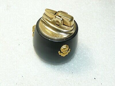 Vintage Ronson Cupid 1950s Table Lighter Black Enamel Brass Gold Insert, used for sale  Canby