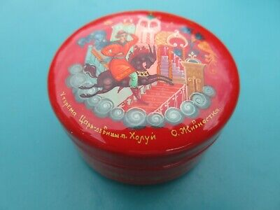 """2"""" 2pc Kholui Russian RED Lacquer Box Fairy Tale Horseman Hand Painted & Signed"""