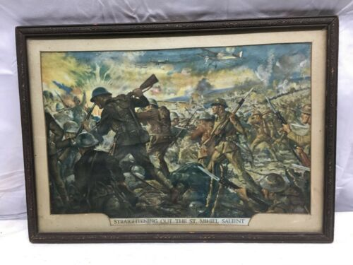 Vintage 1930s Wood Frame With Print WW1 Straightening out The  St.MIHIEL SALIENT