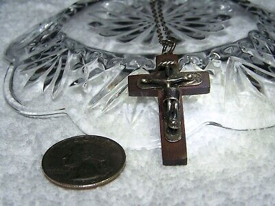 1930s Art Deco Style Jewelry 1930's Mexico Sterling and Wood crucifix w/ original 24 Inch necklace $29.95 AT vintagedancer.com