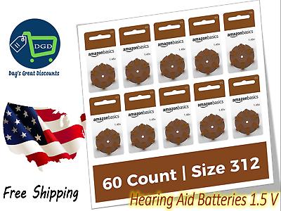60 Pack Hearing Aid Batteries 1.5 V Size 312 Zinc Air Techno