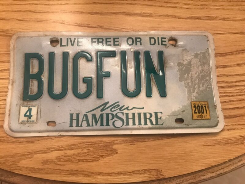 """BUGFUN"" Personalized VW License Plate Volkswagen  New Hampshire entomologist"