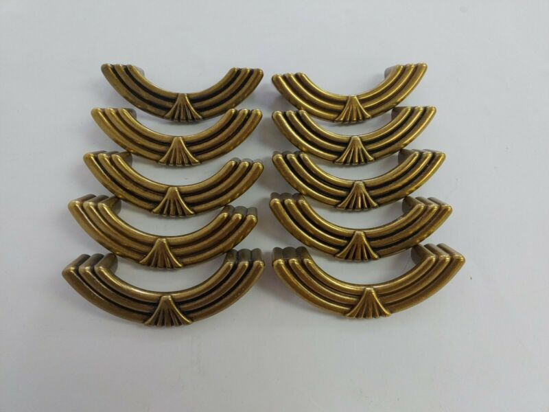 "Vintage Art Deco Hollywood Regency Brass Drawer Pulls Dresser Handles 4.25""w"