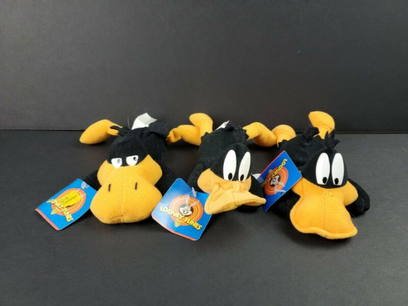 "Vintage Looney Tunes Daffy Duck 9"" Bean Bag Plush Play by Play Set of 3 NWT 1997"