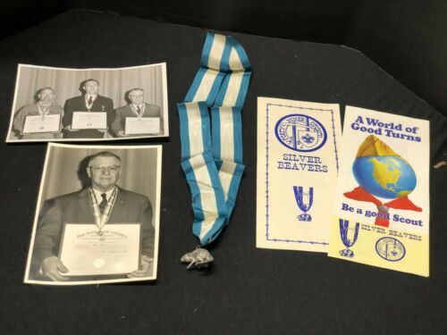 VINTAGE BOY SCOUTS OF AMERICA SILVER BEAVER AWARD WITH NECK RIBBON STERLING