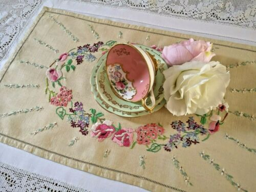 Vintage Hand embroidered tray cloth ~ Beautiful florals Unused
